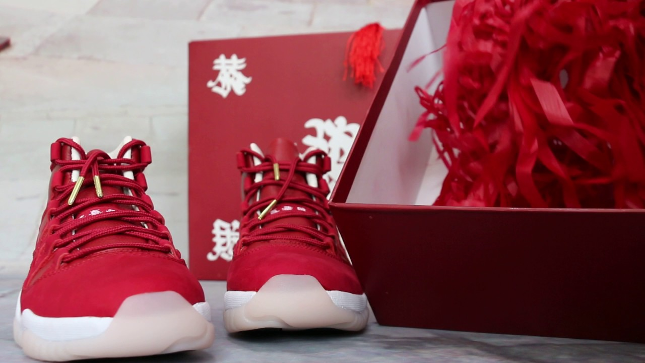 cba118eff02f Air Jordan 11 Chinese New Year Red Custom Made Unfold Review - YouTube