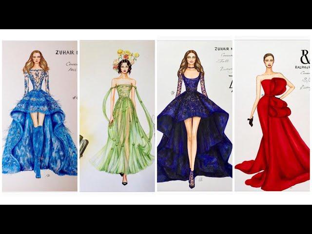 FASHION ILLUSTRATION/Thi?t K? Th?i Trang/B?n Thi?t K? Váy D? H?i C?a Dior,Zuhair Murad,Valentino...