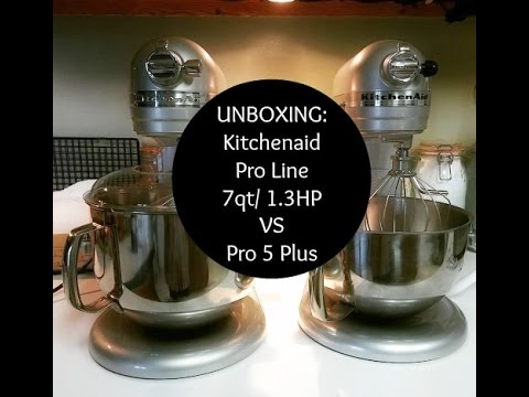 Unboxing Kitchenaid Pro Line 7 Quart 1 3hp Stand Mixer In Sugar Pearl Compared To 5 Plus You