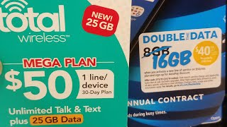 Total Wireless New Mega Plan Prepaid At&T Double Data