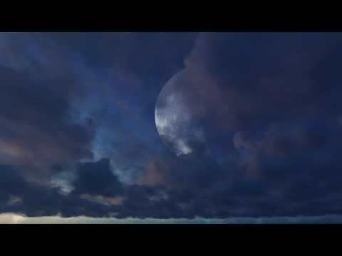 ( CGI 4k Stock Footage )  Halloween Huge Moon Twilight Night Sky Red Purple Clouds Seamless Loop 6