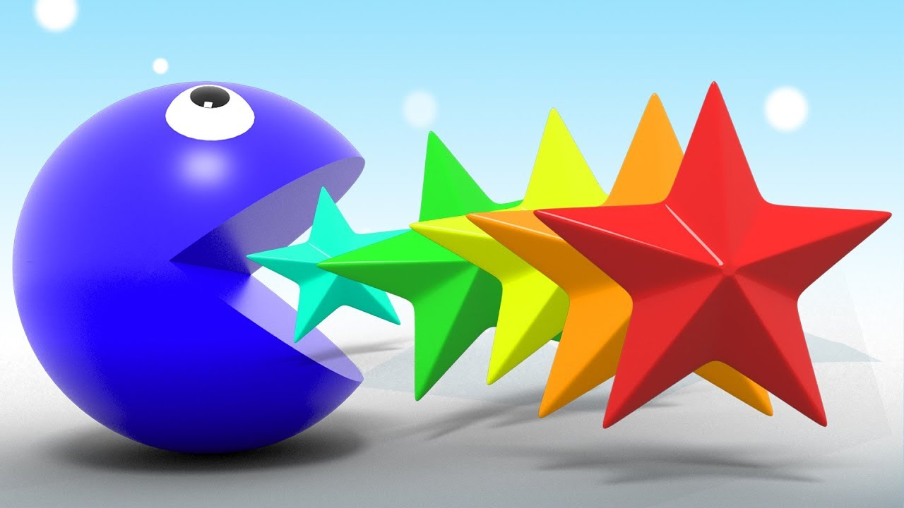 Learn Colors With Pacman Eating 3D Star Shapes For Kids