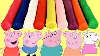 Aprende Los Colores con Play Doh Peppa Pig Cerdita y Familia Usando Cortadores de Galletas