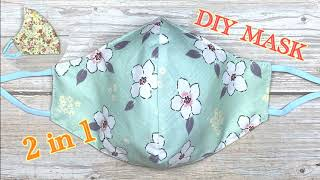 DIY Breathable Face Mask 3 Layers 2 in 1 How ta make Fabric Face Mask Very Easy Masks