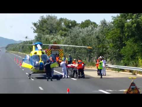 Accident, évacuation d'une victime par hélicoptère