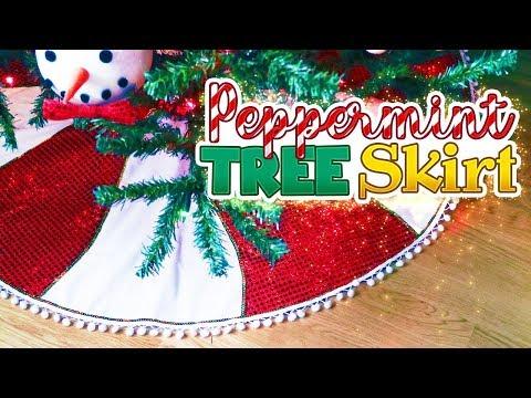 DIY (No Sew) Peppermint Glam Tree Skirt // Christmas 2018