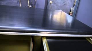 Large Metal Vintage Industrial Military Green Steel Tanker Twin Pedestal Desk