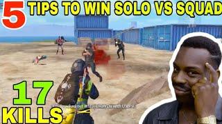 5 TIPS TO WIN SOLO VS SQUAD • (17 KILLS) • PUBG MOBILE GAMEPLAY (HINDI)