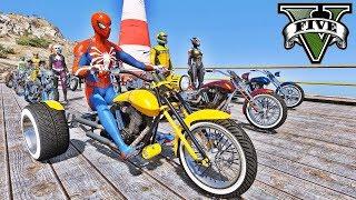 MOTOS Clássicas na Mega Rampa com Homem Aranha e Heróis! Desafio com Motos - GTA V Mods - IR GAMES