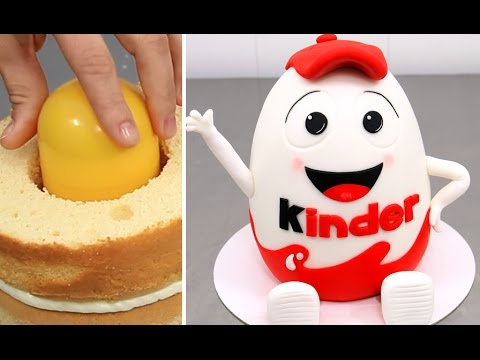 Huge Kinder Surprise Cake with SURPRISE TOY Inside How To Make by Cakes StepbyStep