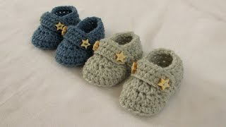 VERY EASY crochet baby boy booties / shoes / loafers / slippers tutorial