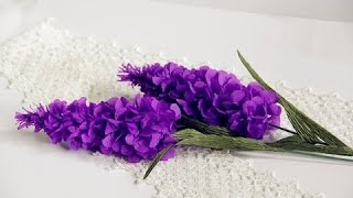 TUTORIAL - Lavender flower / paper flower with crepe paper - craft tutorial - Simple and Easy