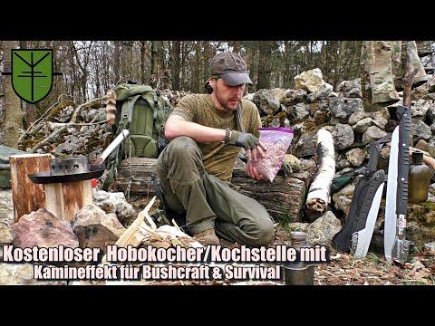 Kostenloser Hobokocher/Kochstelle mit Kamineffekt für Bushcraft & Survival (Böhmisches Drachenfeuer)