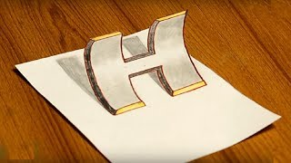how to draw 3d letter H easy drawing ideas for kids by pencil Awesome LifeHack