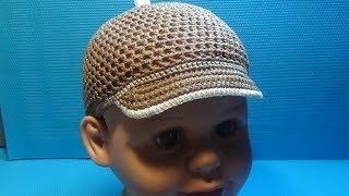 Вязание крючком кепка для мальчика #159