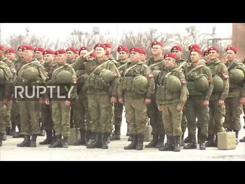 Russia: Military police officers returning from Syria greeted with warm welcome