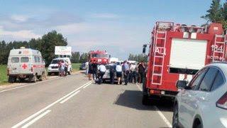 Видео с места аварии с пятью погибшими в Дагестане 10.01.2017