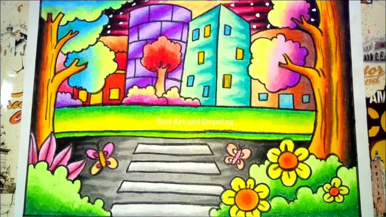 Cara Menggambar Dan Mewarnai Pemandangan Kota Drawing City Scenery