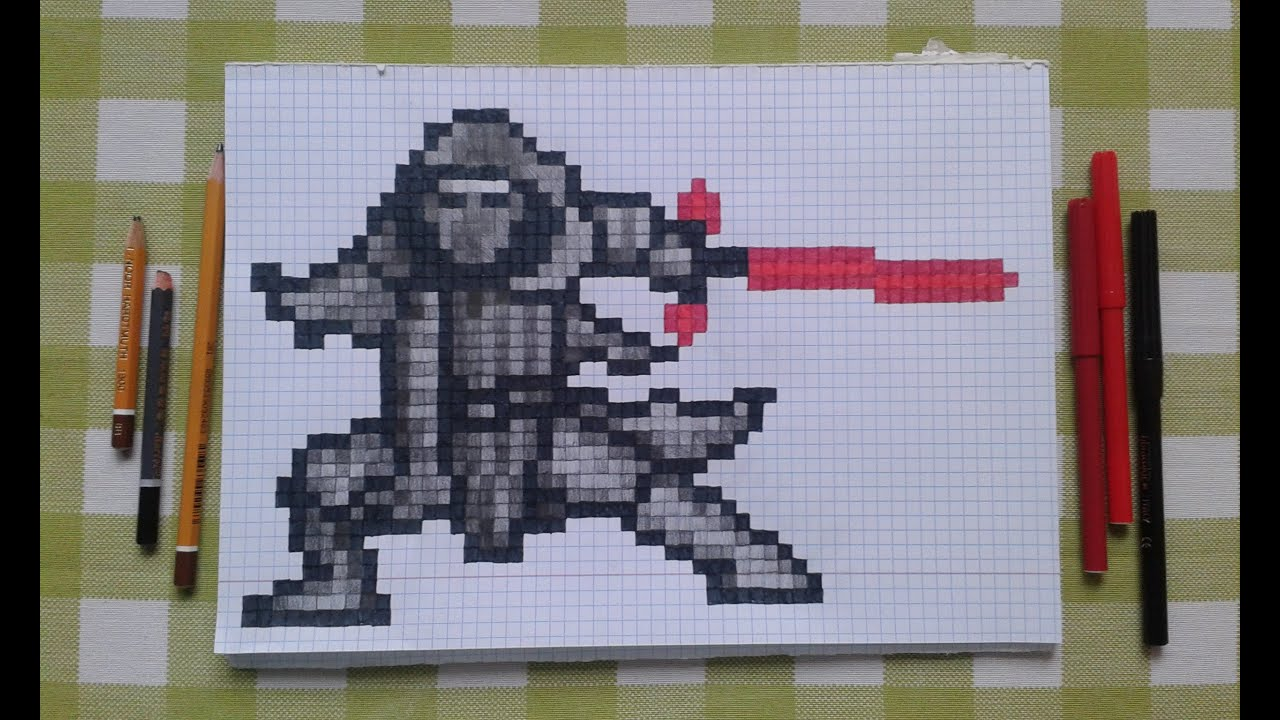 Star Wars Force Awakens Kylo Ren Pixel Art Speed Drawing