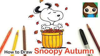 How to Draw and Color Snoopy Easy | Autumn Leaves