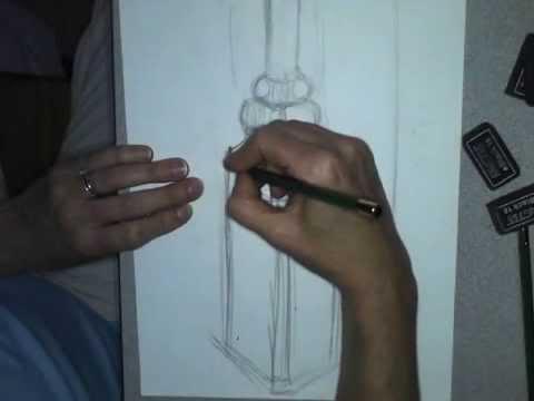 Art survey: (Cezanne drawing group) fancy cube bottle drawing demo.