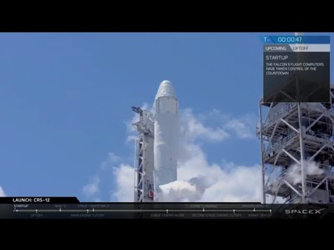 SPACE X  (CRS-12)  DRAGON  LAUNCH AND Grapple of the Dragon Spacecraft to THE  ISS