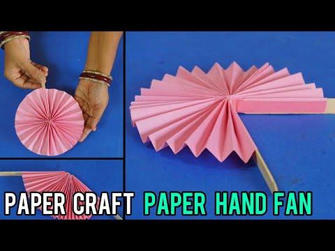 Paper Craft- Paper hand fan- Easy DIY folding hand fan