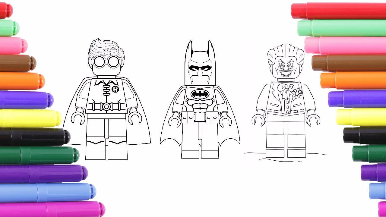Lego Batman Robin And Joker Coloring Page For Kids Coloring Book