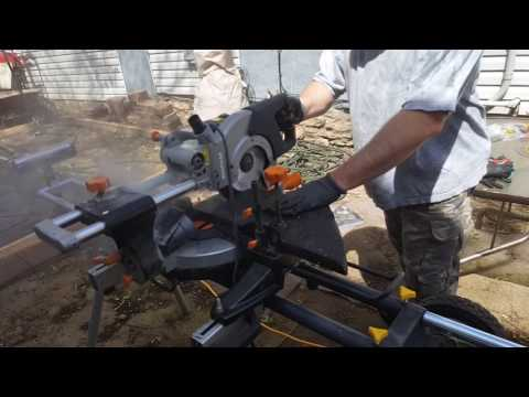 A granite patio using a Evolution Rage 3 miter saw with diamond blade Part 2