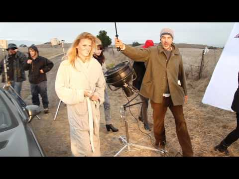 Lara Stone models with Mercedes SL Roadster - behind the scenes
