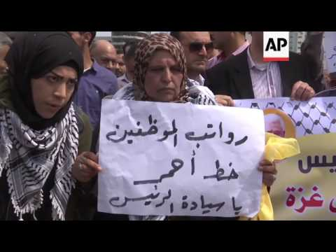 Palestinians protest wage cuts in Gaza