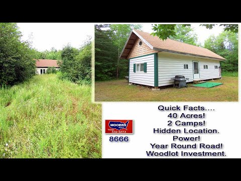 Land In Maine, 40 Acres, 2 Camps At 285 Jackins Settlement RD Hodgtdon MOOERS REALTY #8666