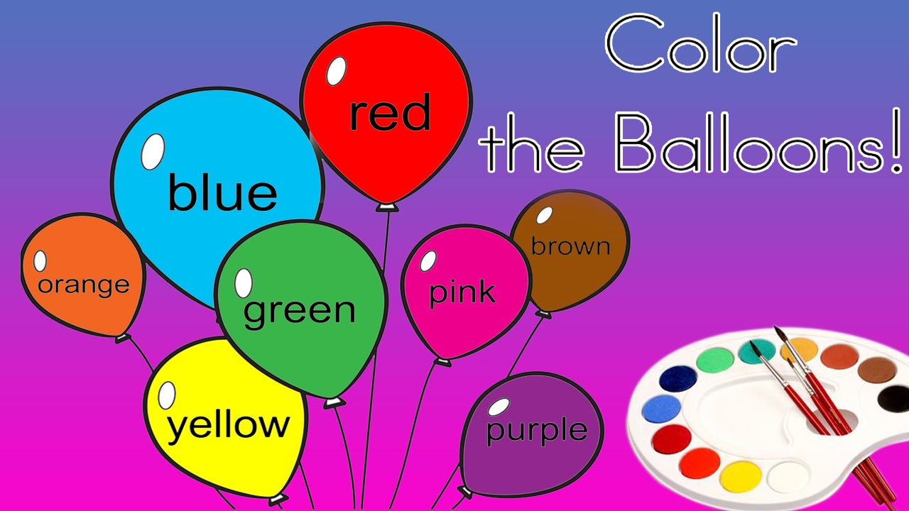 Color the Balloons Coloring For Children Learn Color the ...