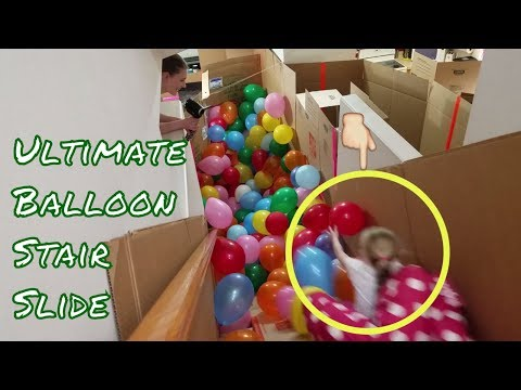 ULTIMATE Balloon Stair Slide Race in GIANT Box Fort House!!!
