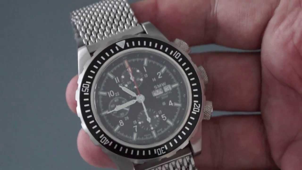 SMW - Swiss Military Watch - Chronograph Automatic Valjoux 7750 - Milanese  Strap - YouTube 2eddf003820
