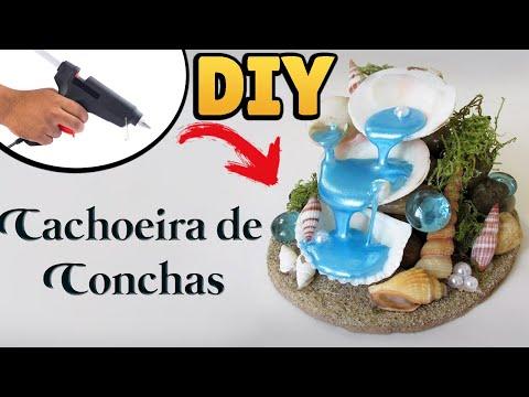 DIY: CACHOEIRA DE CONCHINHAS - HOT GLUE WATERFALL / SEASHELL Fountain Miniature Tutorial