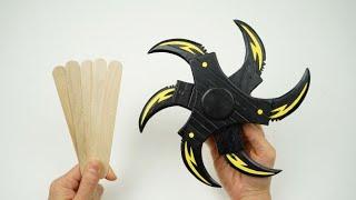 Cool Six Blade Shuriken Popsicle Stick Craft.