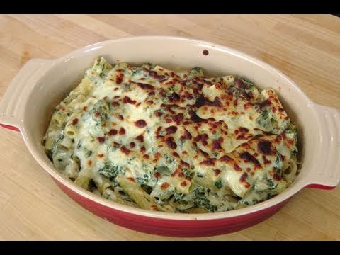 Baked Rigatoni Florentine - with Savory Garlic Philadelphia Cooking Creme - by Laura Vitale