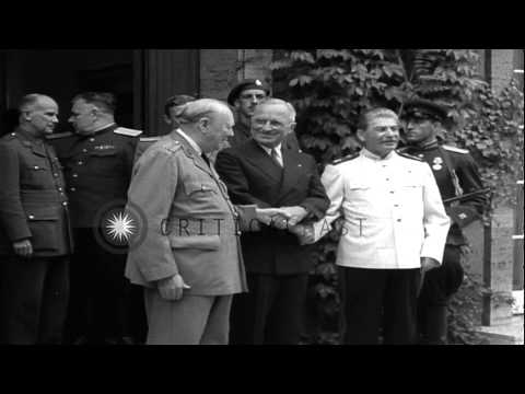Vyacheslav Molotov and staff enter building to attend the Potsdam Conference in P...HD Stock Footage