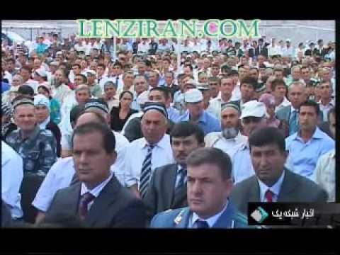 Ahmadinejad dressed with Tajik traditional clothes in Tajikistan