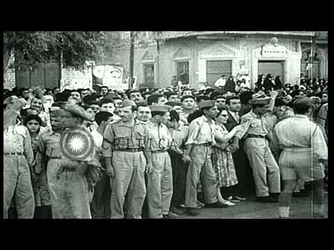 Revolt and overthrow of Government in Iraq. General Abdul Karrem arrives in Baghd...HD Stock Footage