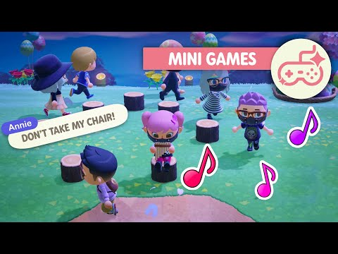 Playing Musical Chairs in Animal Crossing New Horizons | Mini Games |