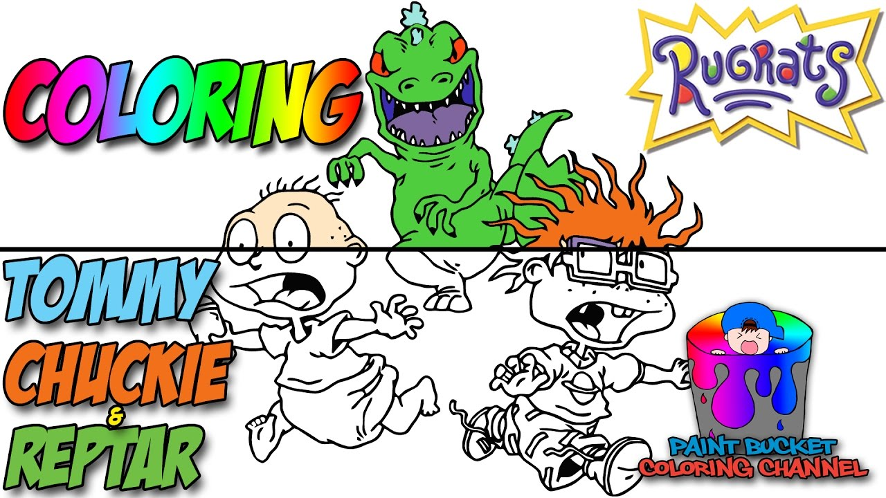 How To Color Tommy Pickles Chuckie Finster And Reptar Nickelodeon S Rugrats Coloring Page