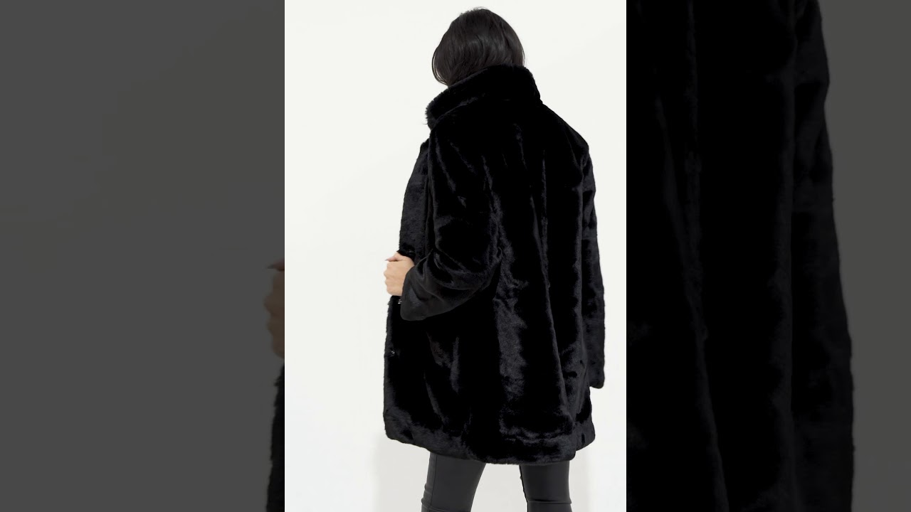 a5bfeb24d4 Ariana Black Premium Faux Fur Coat