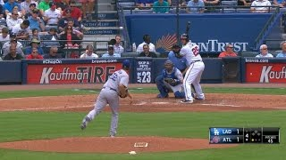 Kershaw throws an eephus pitch to Flowers
