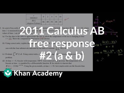 2011 Calculus AB Free Response 2 A B AP Calculus AB Khan Academy