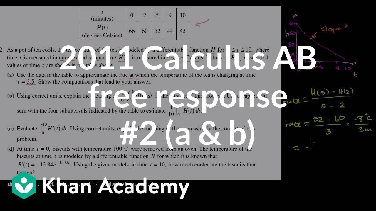 2011 Calculus AB free response #2 (a & b) (video) | Khan Academy