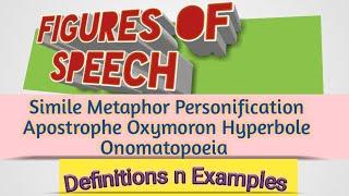 Figures of Speech Simile Metaphor Personification Apostrophe Oxymoron Hyperbole Onomatopoeia