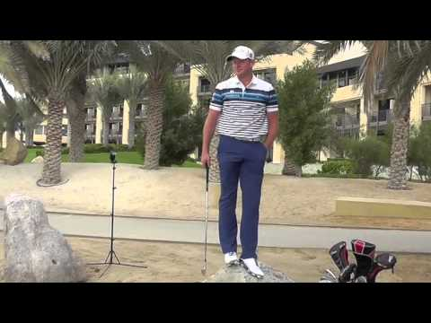 Tour pro Jamie Donaldson larking about on a photoshoot...