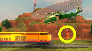 ARMY HELICOPTER TROLL (HIT BY TRAIN) | Roblox Jailbreak